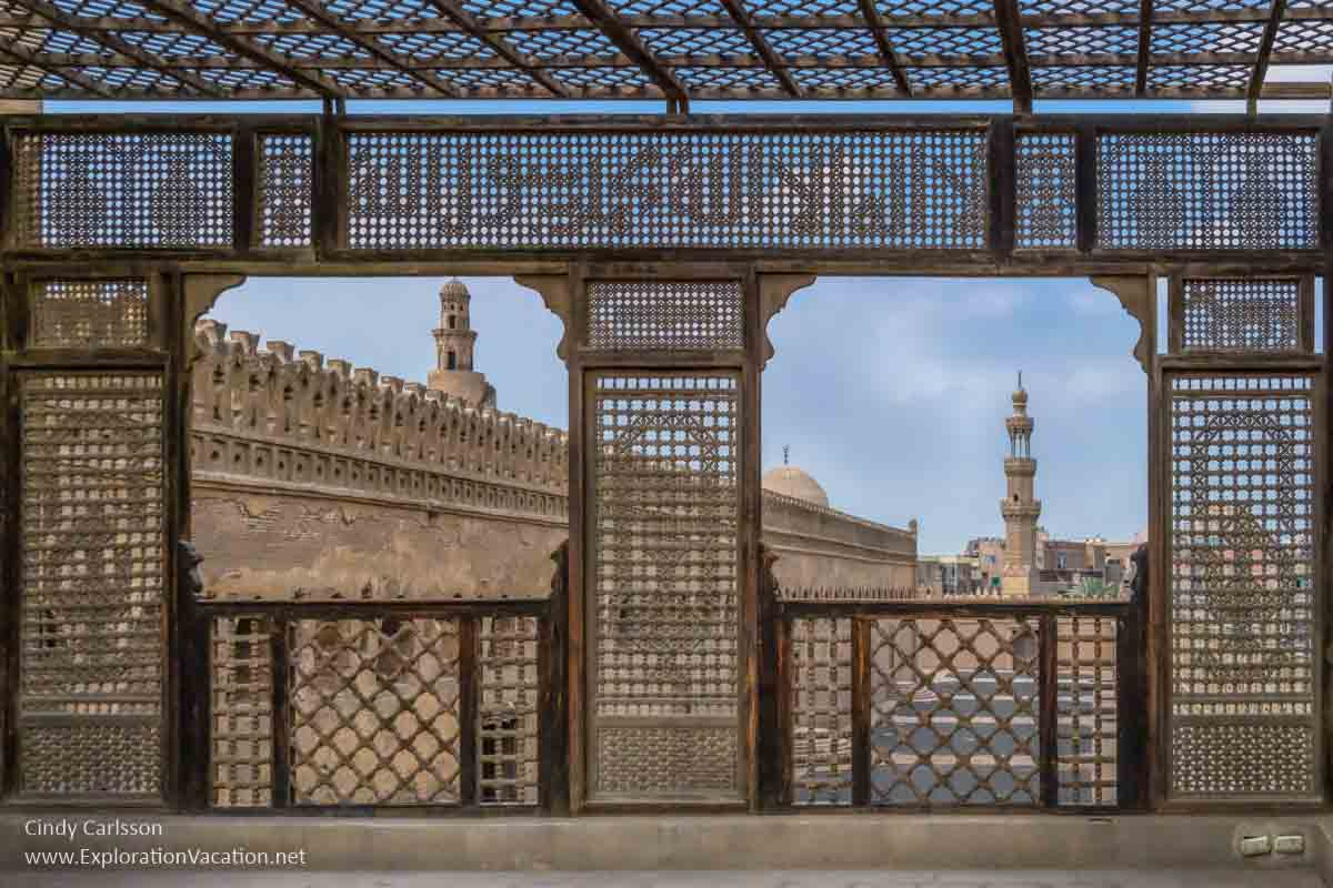 intricate lattice framing minarets