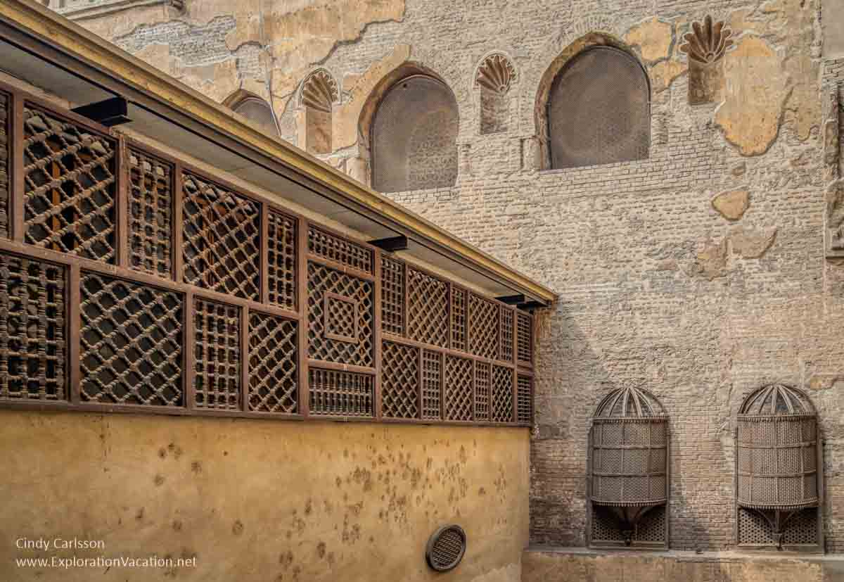 courtyard with mashrabiya-covered windows