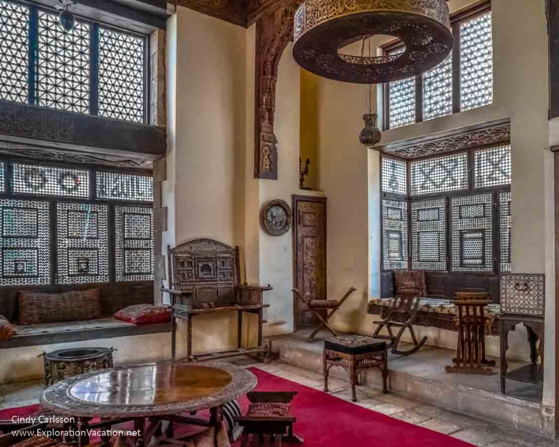 interior room of the harem at an Ottoman house in Cairo