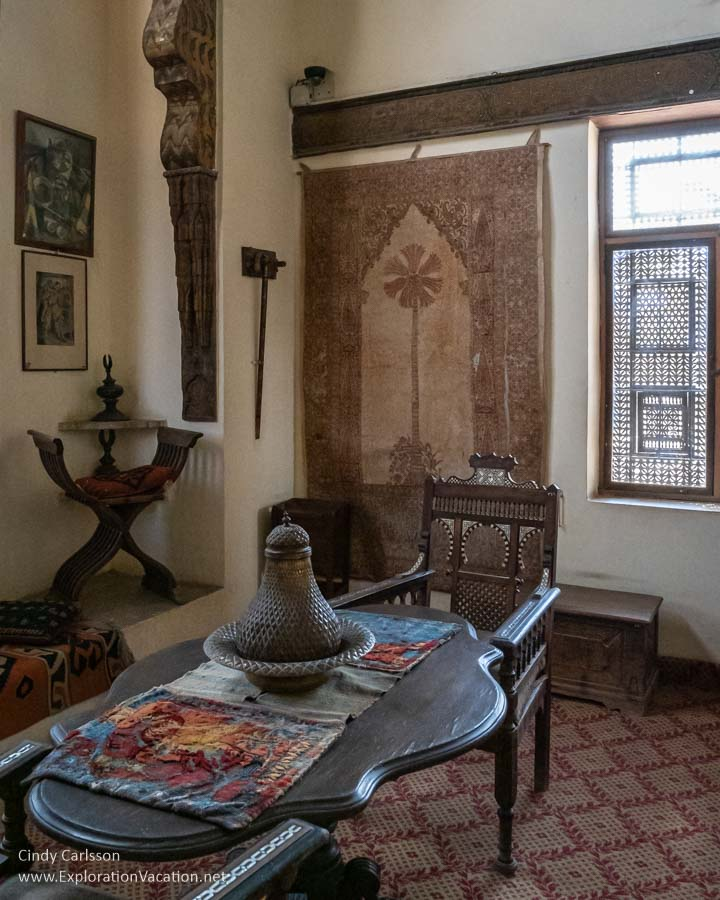 table in an ornate Islamic room