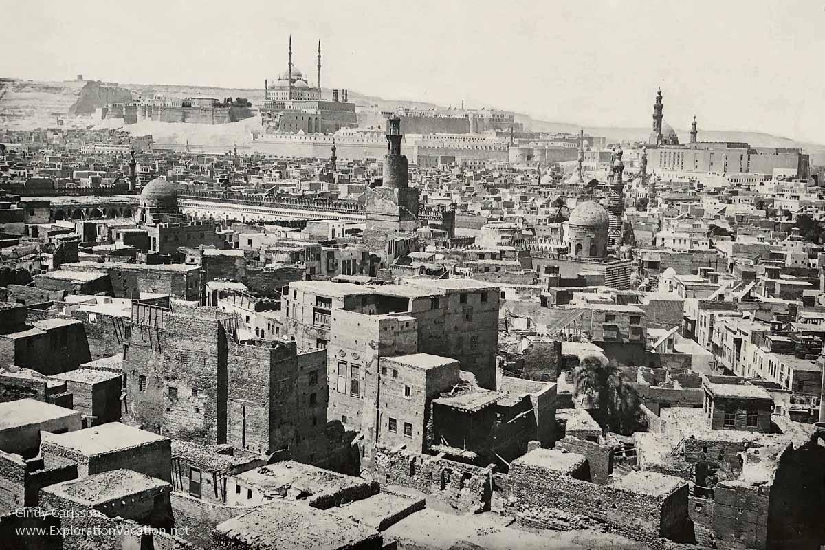 historic photo of development around Ibn Tulun Mosque