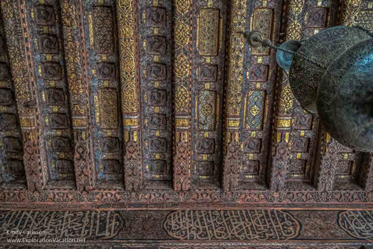 carved and painted ceiling in Cairo