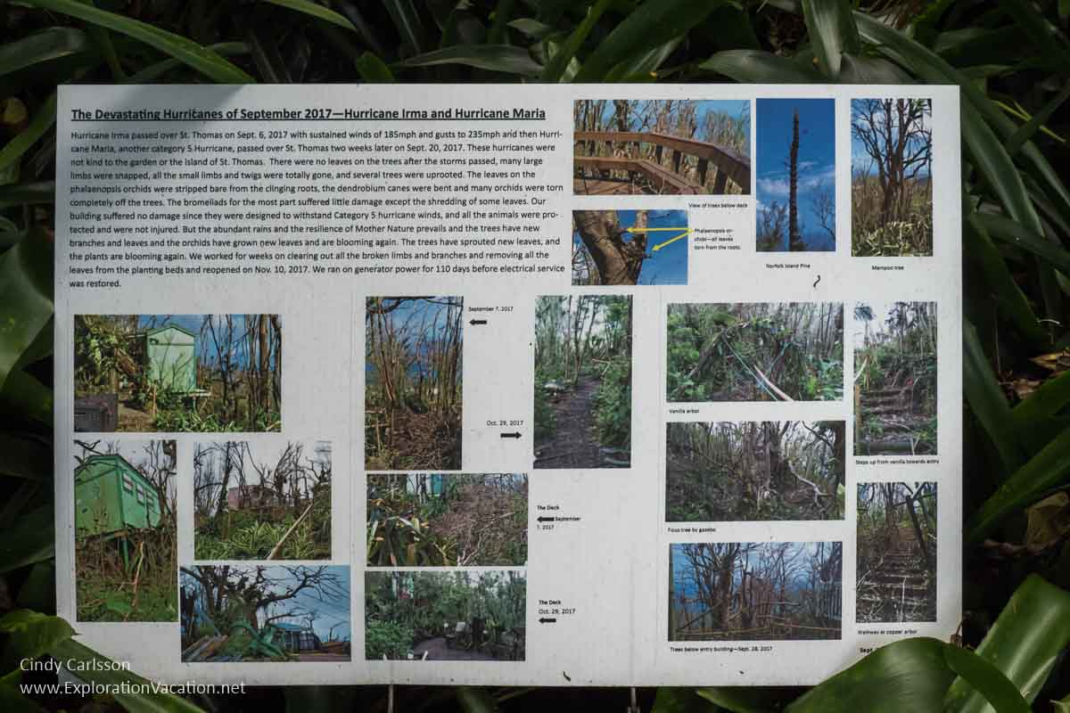 sign with information on hurricane damage