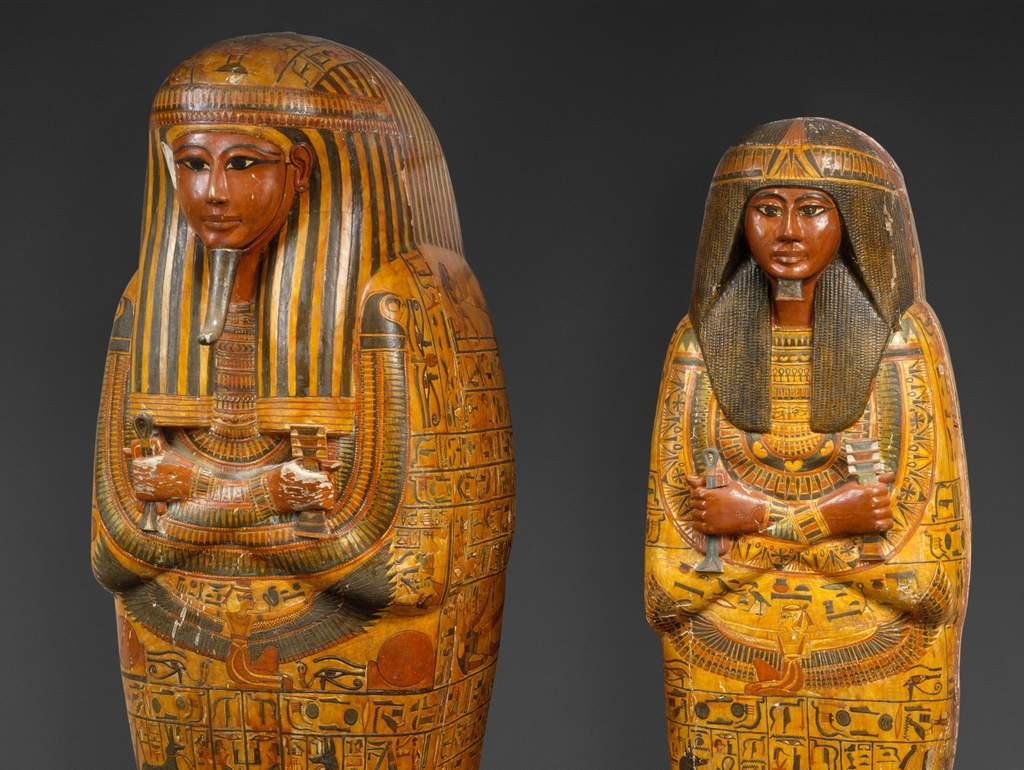 set of Egyptian sarcophaguses
