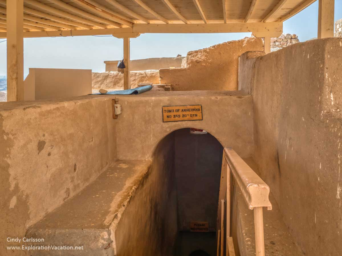 looking down into a tomb entrance