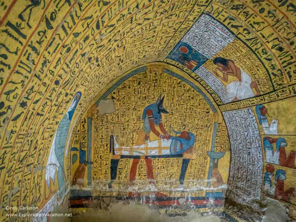 brightly painted interior of a tomb
