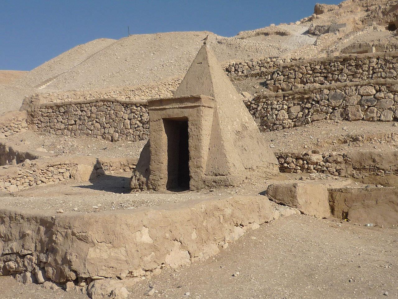 mud brick pyramid in Deir el-Medina Luxor Egypt