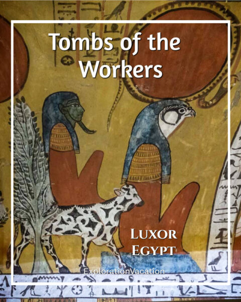 """painting with text """"Tombs of the Workers Luxor Egypt"""""""