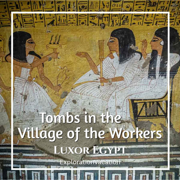 """painting with text """"Tombs in the Village of the Workers Luxor Egypt"""""""