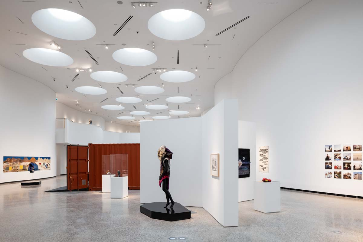 large gallery with art