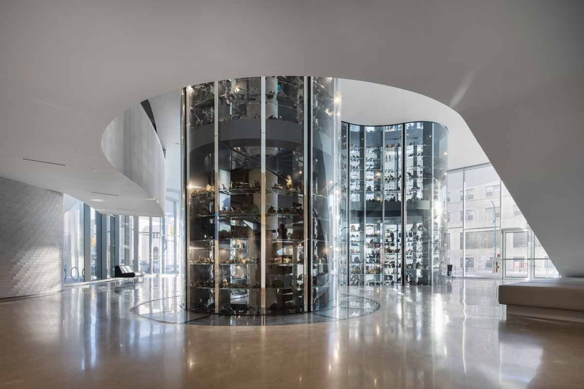 Interior with floor-to-ceiling glass exhibit space