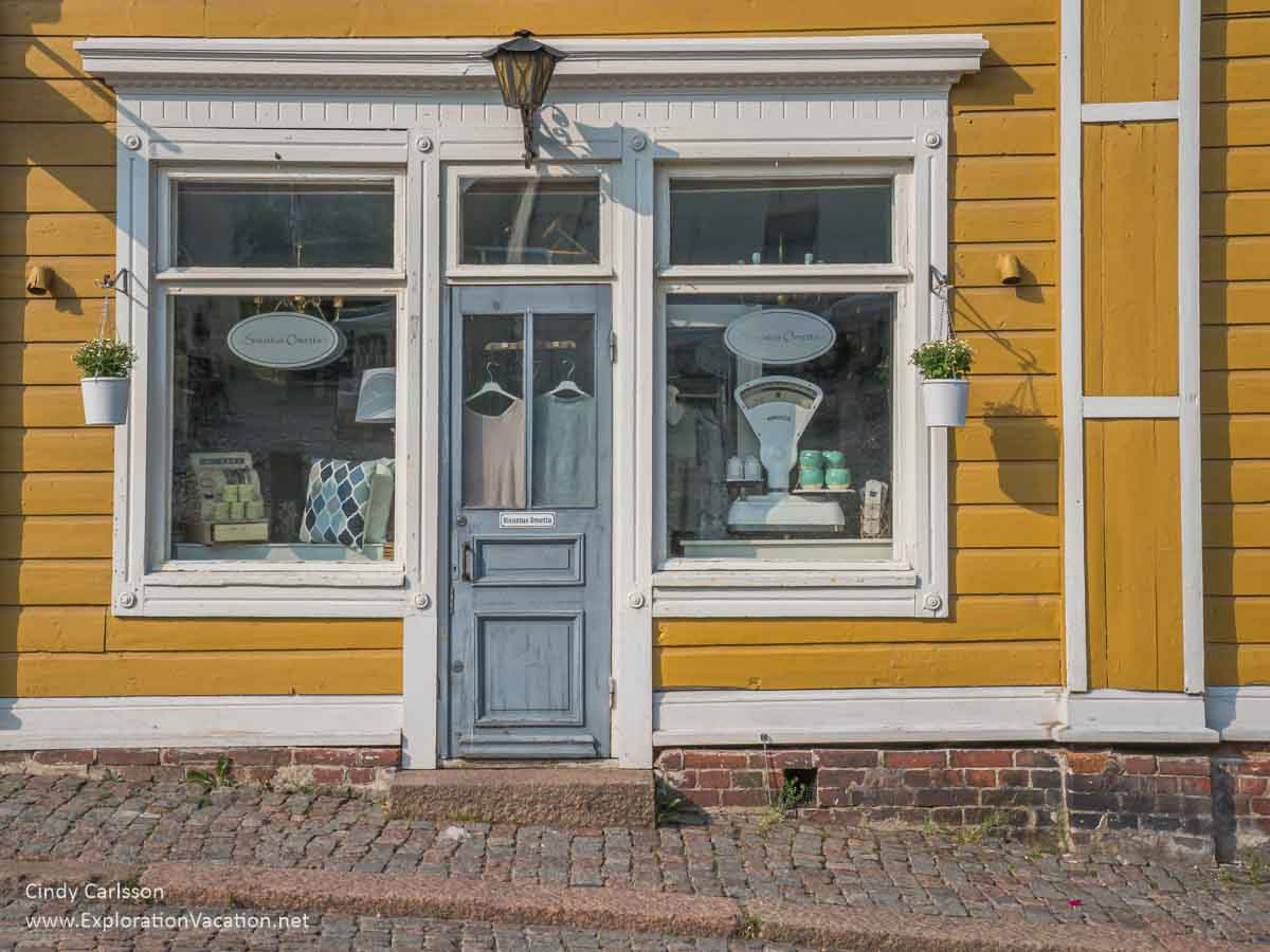 shop front with artsy household items
