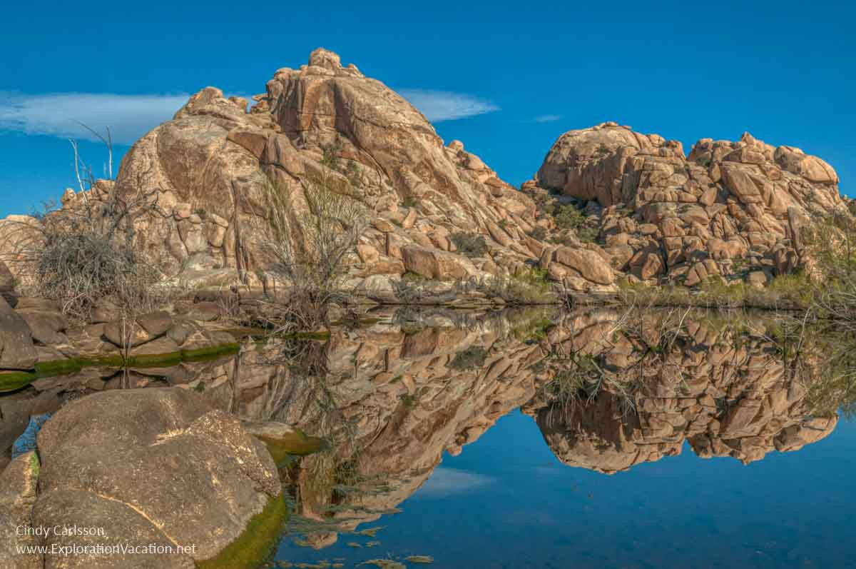 photo of desert pools reflecting dry hills