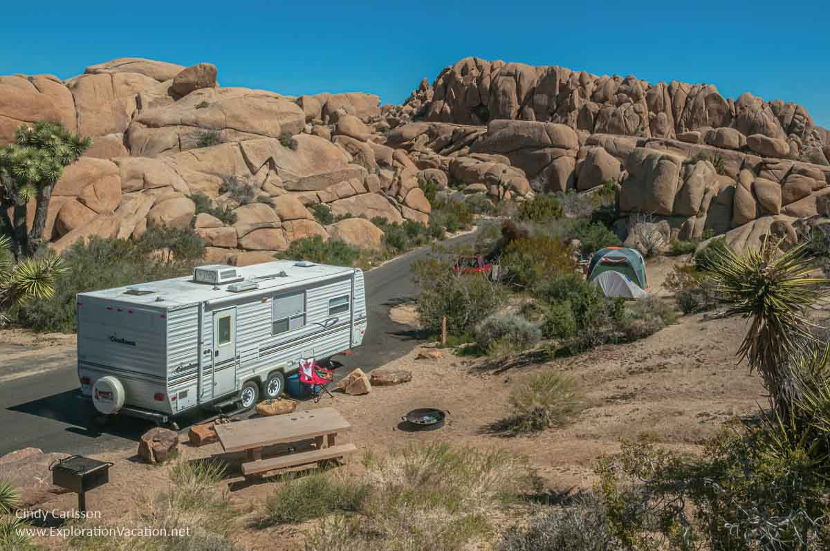 photo of campsites amid giant boulders