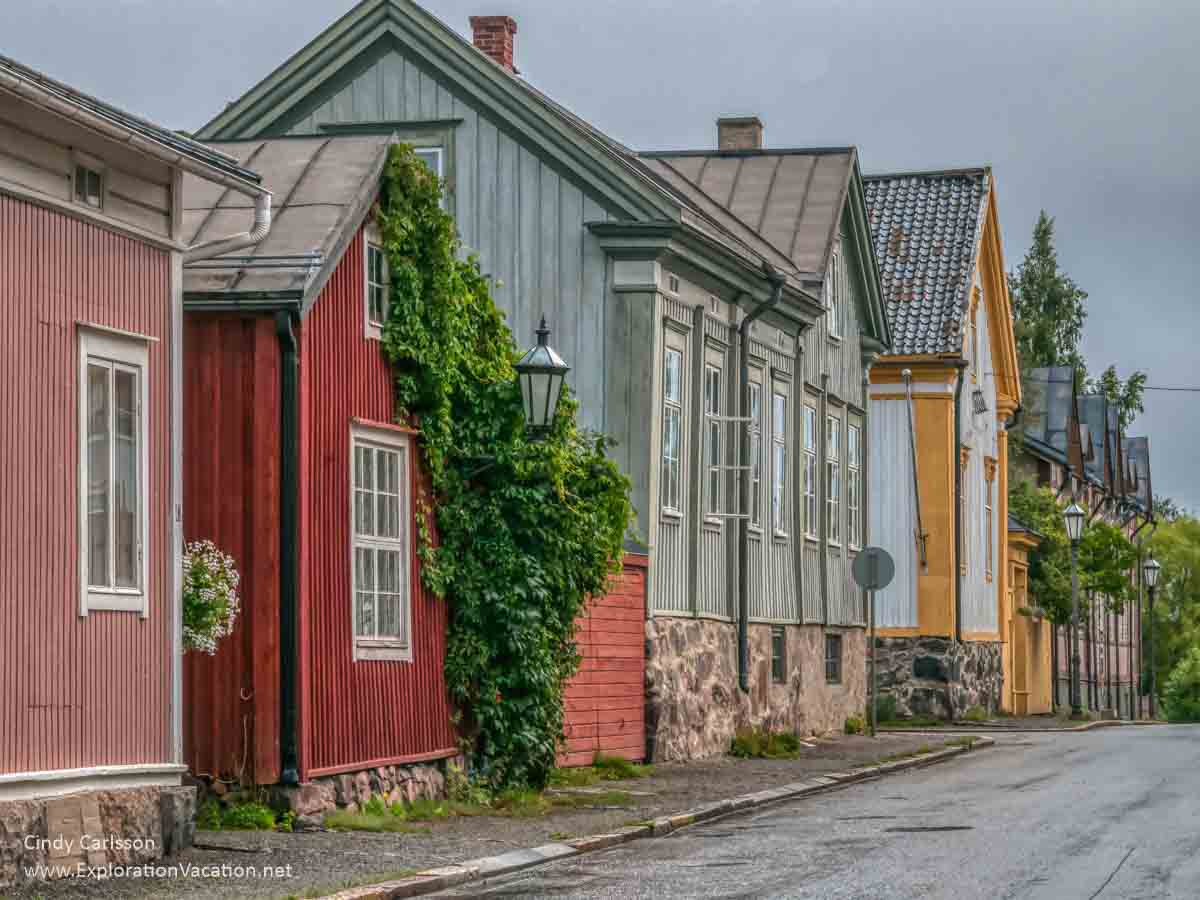 Old wooden houses in bright colors