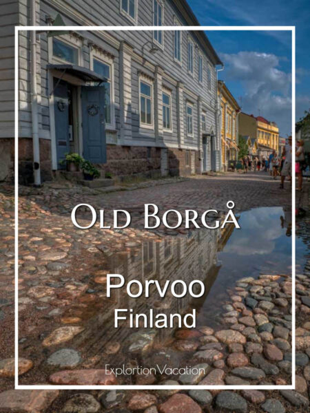 """Street with old buildings and text """"Old Borga Porvoo Finland"""""""