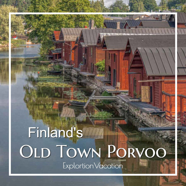 """Red buildings along water with text """"Finland's Old Town Porvoo"""""""