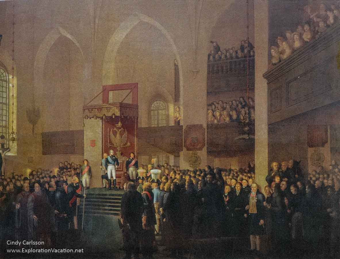 painting of the Tsar and men meeting inside the Porvoo church