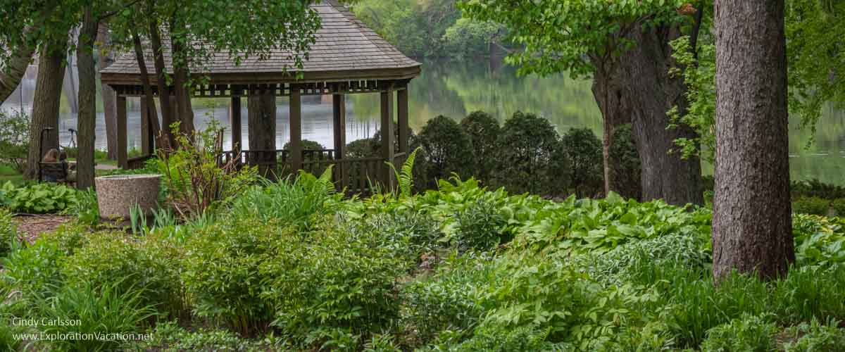 shade garden and pavilion with river in the background