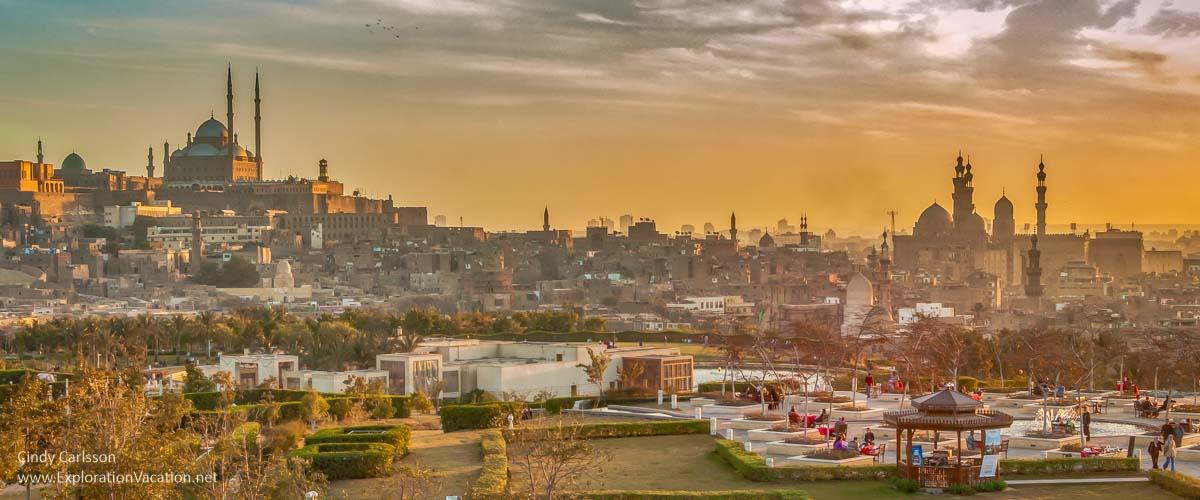 Photo of Cairo skyline from Al-Azhar Park at sunset
