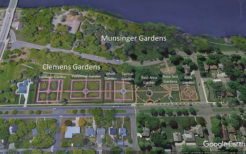 labeled Google Earth map showing location of formal gardens in St Cloud