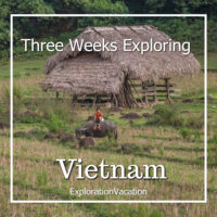 """photo of a child on a water buffalo outside a thatched building with text """"Itinerary for three weeks in Vietnam"""""""