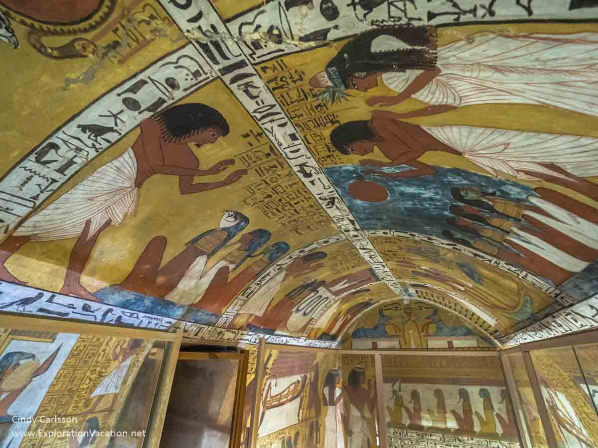 photo of interior of a small, brightly painted Egyptian tomb