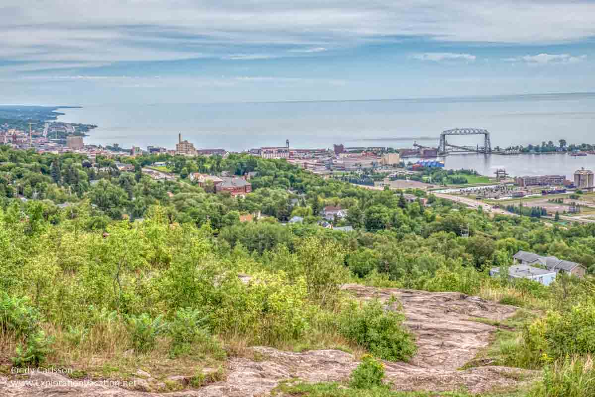 the Duluth waterfront from above