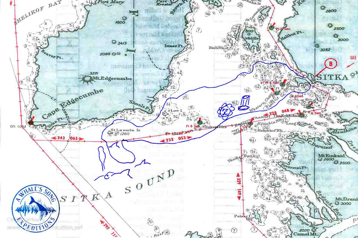 map showing a bird and whale watching tour route in Sitka Sound Alaska