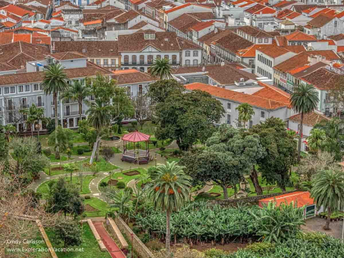 historic colonial era city with a large garden