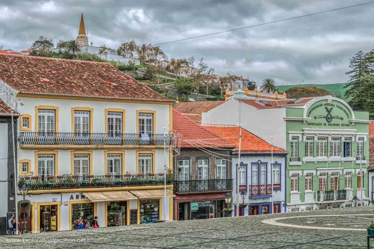 historic building facades in Angra do Herismo Portugal